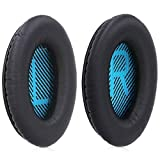MMOBIEL Almohadillas para Auriculares Compatible con Bose Quiet Comfort QC2 QC15 QC25 QC35 AE2 AE2i AE2-W (Negro/Azul)