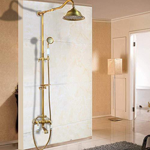 Badkamer douchekraan met haken voor planken in antieke messing douche mixer voor bad dubbele muur handvat, A