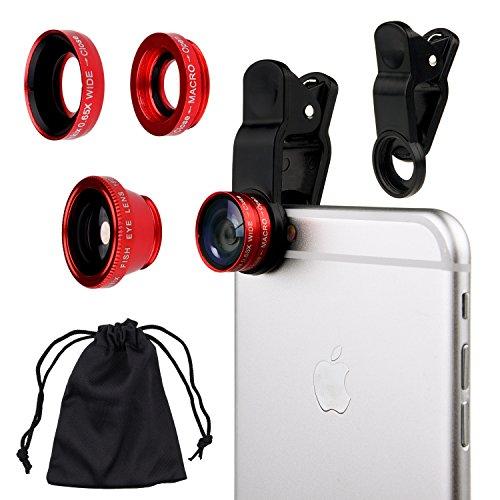 Kit Universal de Lente de Cámara 3 en 1 para Teléfonos Inteligentes, incluye un Lente de Ojo de Pez / Una Macro Lente 2 en 1 y Lente de Ángulo Amplio / Un Clip Universal