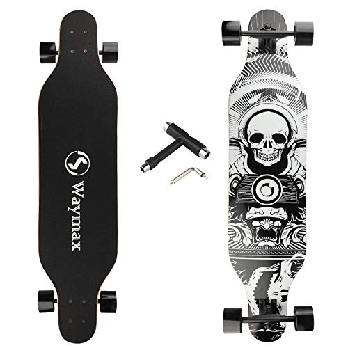Longboard Skateboard Complete - 41 Inch Longboard for Hybrid, Freestyle, Carving, Cruising and Downhill with All-in-one T-Tool for Beginners