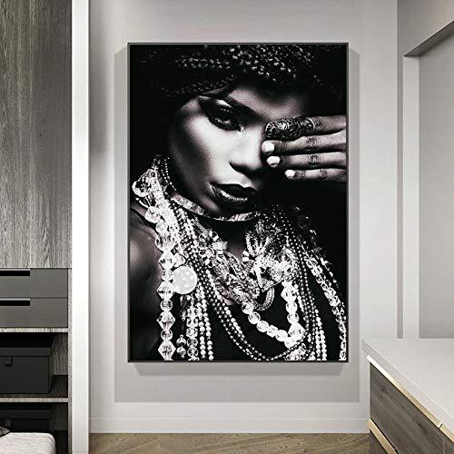 JHGJHK Retratos de africanos y Joyas Póster de Arte Pintura al óleo Cuadro de Arte Corporal Pintura Decorativa (Imagen 1)