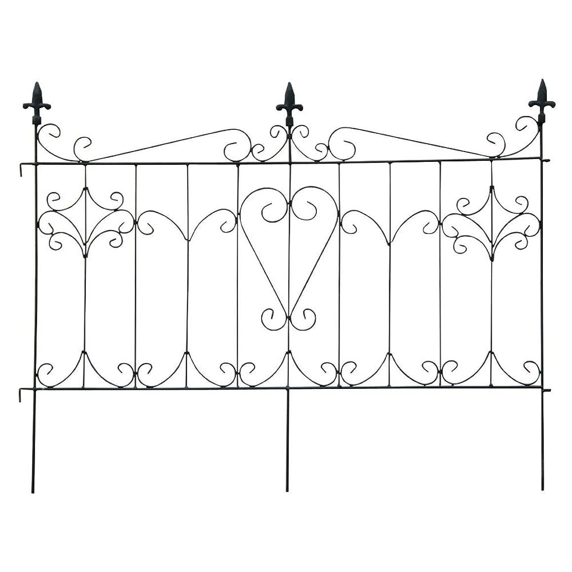 おびえた自分インセンティブガーデンフェンス 鉄製花壇フェンス?カルディアN 黒 2枚 アイアン ガーデニング 庭 ガーデン 柵 連結可能 国華園 …