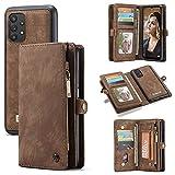 Cubierta de la caja del tirón del teléfono Caso para Samsung Galaxy A32 5G Multifuncional Wallet Teléfono móvil Caja de cuero con cremallera de cuero y estuche magnético desmontable (con 11 ranuras de