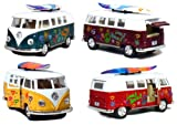 Set of 4 Vehicles: 5' 1962 VW Classic Van Flowers with Surfboard (Red, Green, Maroon and Yellow)