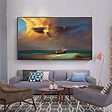 xuemml Animal Marino pez Dorado delfín tiburón póster Cuadros de Pared para decoración de Sala de Estar Pintura de Lienzo de Maison -60x80cm sin Marco