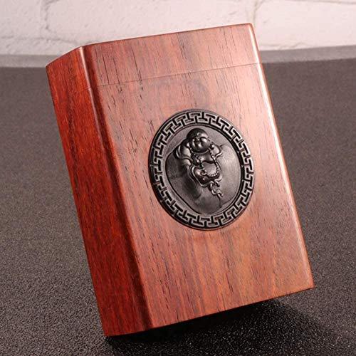 Caja de cigarrillos Caja de cigarrillo de madera maciza Retro personalidad Caja de cigarrillo creativa Caja de cigarrillo de gran capacidad de gran capacidad puede acomodar 20 cajas de cigarrillos
