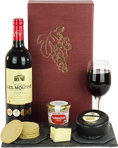 Wine, Cheese and Pate Hamper with a fine Award Winning Les Moutins Bordeaux 75cl, Cheese Truckle, Pate and Oatcakes in a Luxury Gift Box with a Grape Design and Free DELIVERY
