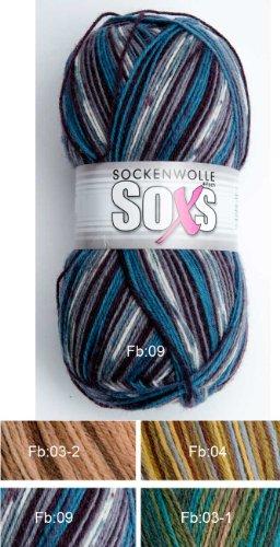 Gründl AdoniaMode 100 Gramm Sockenwolle Hot Socks Fresco/Soxs 4-fädig Fb: Petrol/Lila/Grau (09), Versand als DHL-Paket