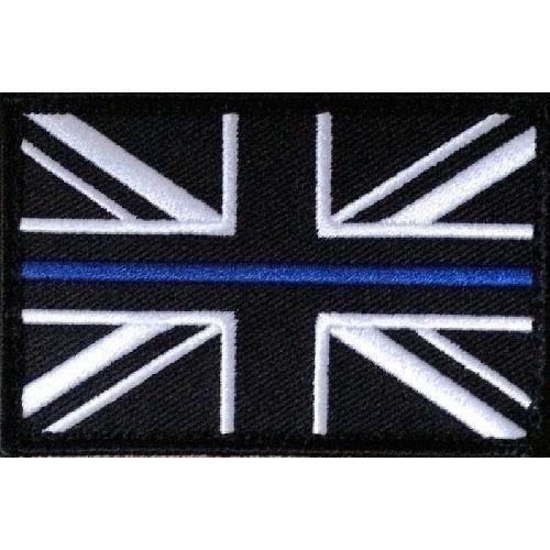 Thin Blue Line Police Union Jack Hook + Loop backed patch (UK Badge insignia) Large
