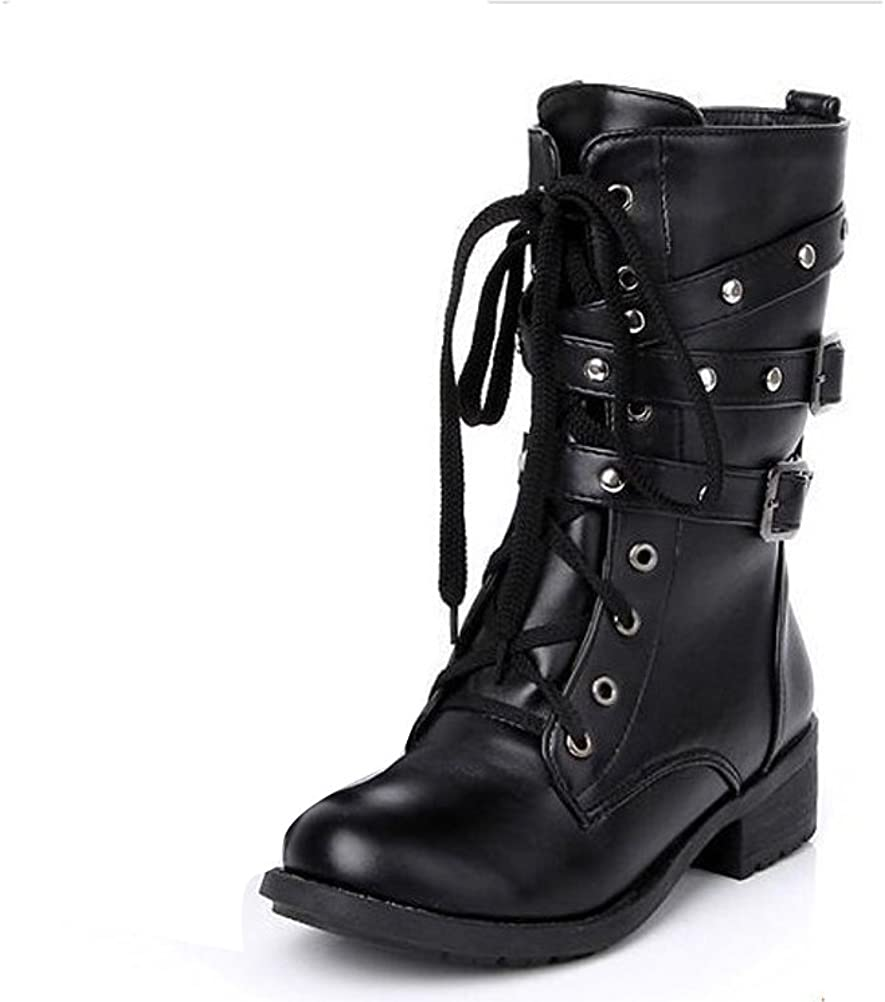 2016 New Womens Motorcycle Mid Calf Boots Lace Up Low Blocks Heels Combat Shoes