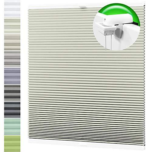 Horivert Wabenplissee Verdunklung Thermo Plissee Klemmfix Ohne Bohren Creme Rückseite Weiß 55x70 cm