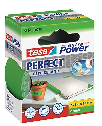 tesa extra Power Perfect Gewebeband - Gewebeverstärktes Ductape zum Basteln, Reparieren, Befestigen, Verstärken und Beschriften - Grün - 2,75 m x 38 mm