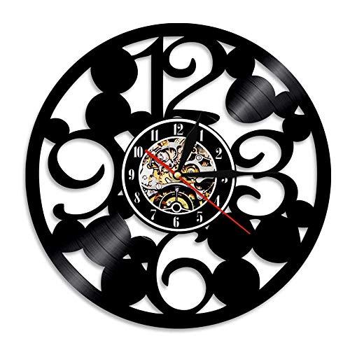 HHCUIJ Große Zahlen Wanduhr Zeitgenössische Küchenwanduhr aus echtem Vinyl Schallplatte Große Zahlen Einfache abstrakte Uhr-12 Zoll