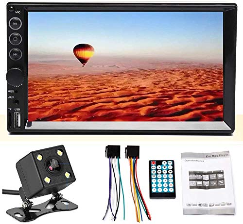 Double Din DVD Player Radio FM Bluetooth Remote Control Touchscreen 7inch Built in TV Tuner with 120 Degree Reversing Camera