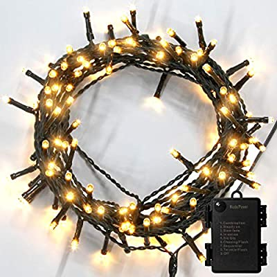 Damipow 100 LED Christmas String Lights with 33Ft Green Wire, Battery Operated Fairy Lights 8 Modes IP65 Waterproof Outdoor Perfcet for Xmas Garden Wedding Party Chirstmas Tree Decoration (Warm White)