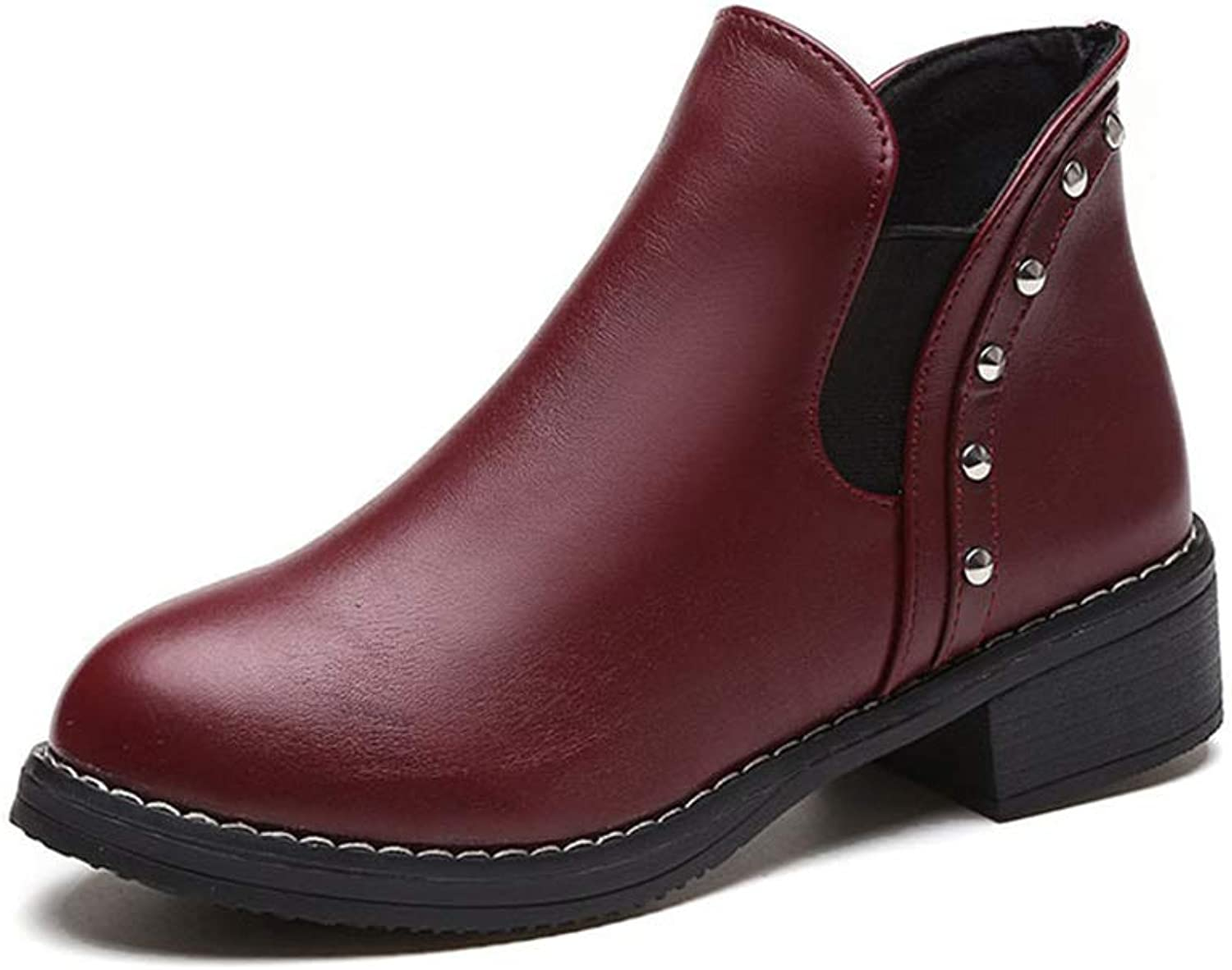 Casual Western Ankle Bootie Comfortable Closed Toe shoes Low Heel Slip on Boot