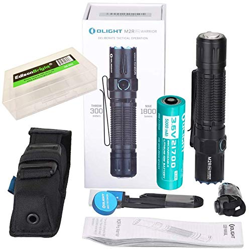 OLIGHT M2R Pro Warrior 1800 Lumens USB Magnetic Rechargeable Tactical Flashlight, 21700 Battery, holster with EdisonBright BBX5 battery carry case...