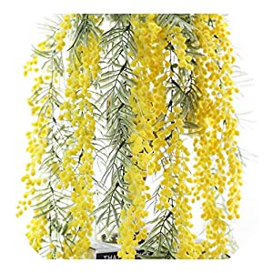 Dreamture 1PCS Artificial Flowers Australia Acacia Yellow Mimosa Vine Spray Hanging Silk Flower Wall Wedding Plants Party Event Decor-