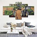 GHYTR Tractores Agrícolas John Deere Agricultura Cuadro sobre Impresión Lienzo 5 Piezas Marco 150X80Cm HD Arte De Pared Modulares Sala De Estar Dormitorios Decoración para El Hogar Póster Regalo