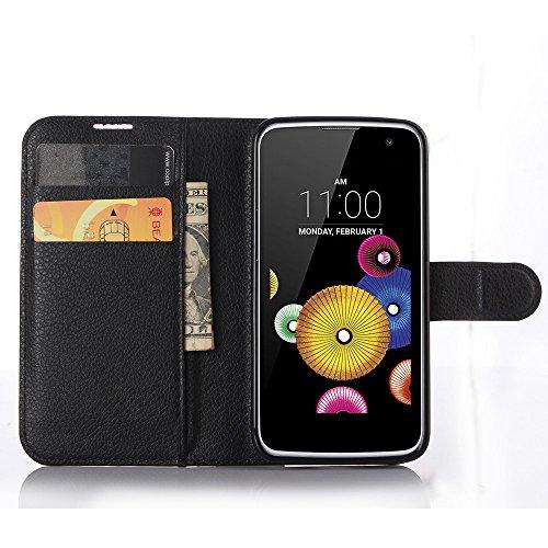 GARITANE Funda para LG K4/K120 K120E Cartera Fundas de PU Cuero Wallet Flip Case Cuero Cover Carcasa con función de Soporte para LG K4/K120 K120E (Negro)