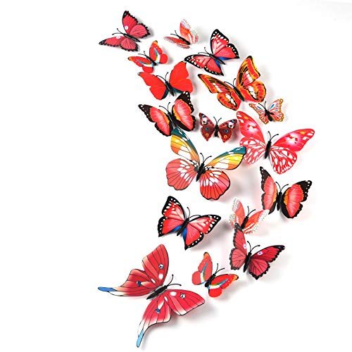 TUPARKA 36 Pieces 3D Butterfly Wall Stickers Wall Butterflies Girls Bedroom Accessories Multi-Color Optional (Red)