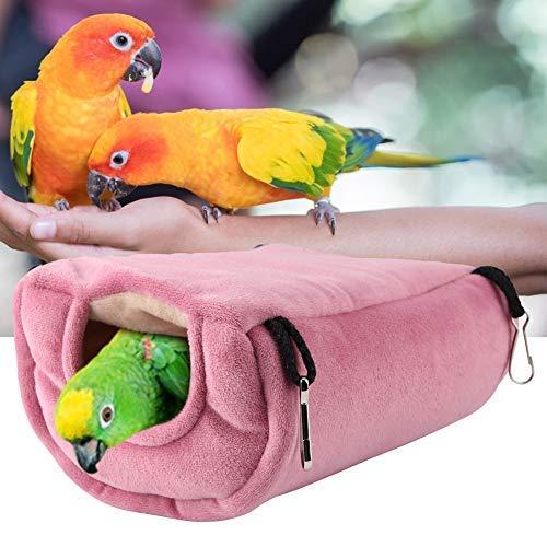 Nido de pájaro cálido de Invierno, Loro a Prueba de Viento Hamaca de Felpa Colgante Columpio Cueva para Hamster Macaw Budgies Eclectus Perico Cockatiels Cockatoo Lovebird (L)