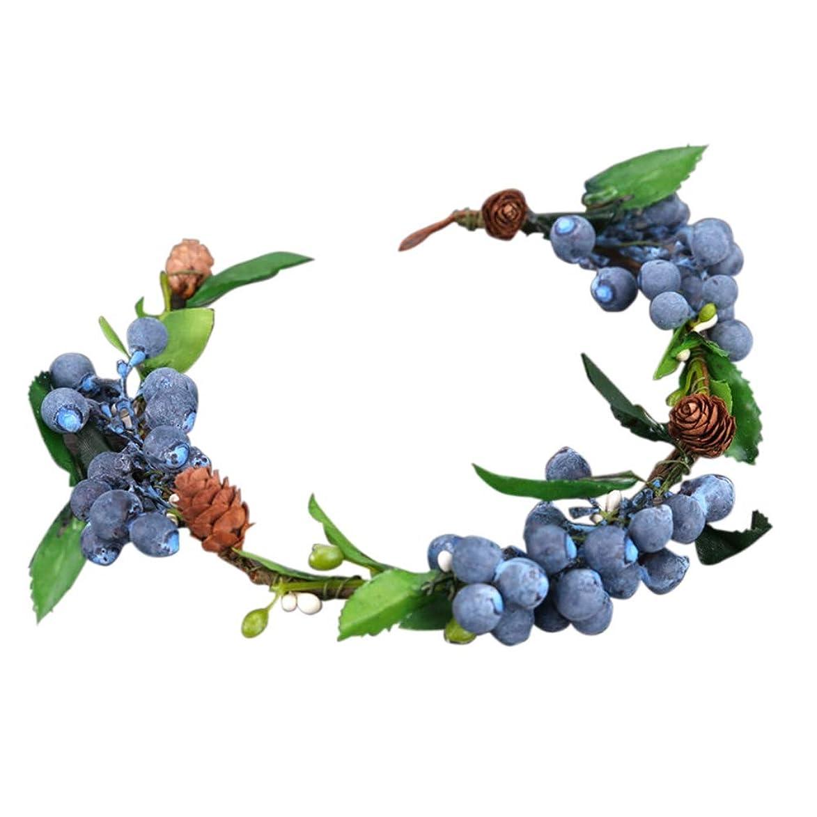 後退する論争コインMerssavo 青色のフルーツ花嫁の花輪結婚式の頭髪の髪の装飾品ブライダルオーナメント
