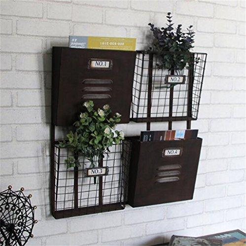 Wand Regal Bücherregal Ablagekorb Regale Display-Ständer Metall Eisen Zeitschriftenständer Zeitungsständer Wand-Wandbehang Dekoration Design Haltbar (Farbe : Black)