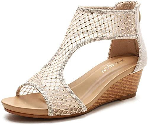 Toe Abierto de Las Mujeres Sandalias de cuña de Verano Recorte enjaulado Crystal Rhinestone Chunky Plataforma High Heel Sandal 36-42-41_Dorado
