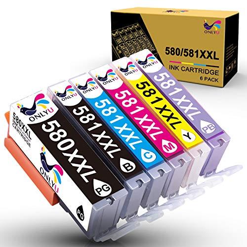 ONLYU 580XXL Compatible para Canon PGI-580XXL CLI-581XXL Cartucho de Tinta para Canon Pixma TS8150 TS8151 TS8152 TS9150 TS9155 Impresora 6-Pack (1 PGBK 1Negro 1Cian 1Magenta 1Amarillo 1PhotoBlue)