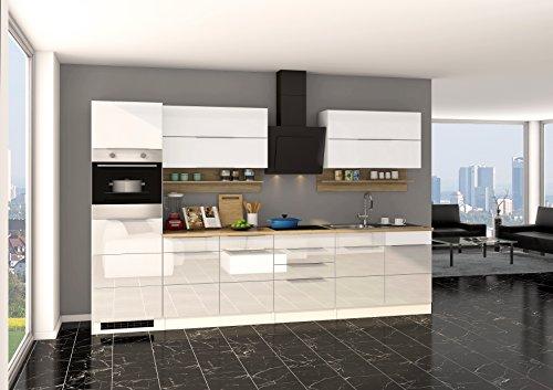 Held Möbel 624.1.6176 Neapel Küche, Holzwerkstoff, hochglanz weiß, 60 x 320 x 200 cm