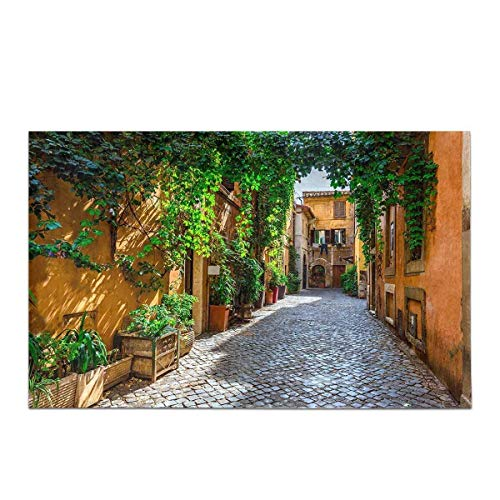 Paysage Urbain européen Old Street in Rome Italie Home Decor antidérapant Tapis de Bain Tapis Tapis de Douche Absorbant pour Salle de Bains Baignoire Chambre