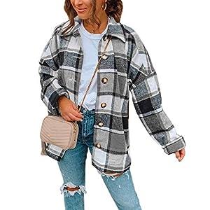 Women's Boyfriend Wool Blend Plaid Shirt Button Down Loose Plaid  Jac...