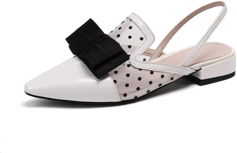 Nine Seven Women's Patent Leather Closed Toe Comfort Flat Heel Handmade Fashion Two Tone Bow Dress Slingback Pumps
