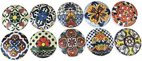 Set Max 78% Kansas City Mall OFF of 10 Talavera Floral Print Knobs Wood Cabinet