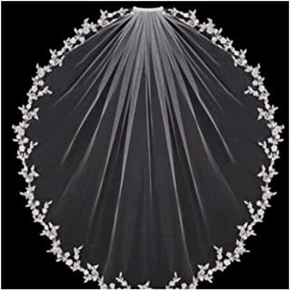 ZYFZD Wedding Veils Bridal Accessories White Ivory Elbow Length with Comb Appliques Lace Bridal Veils 2020 New (Color : Ivory, Item Length : 75cm)