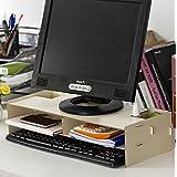 PC 整理 片づけ 収納 モニター 会社 オフィス 台 パソコン ウッド スタンド (ホワイト) MI-MONI01-WH