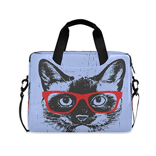 OOWOW - Bolsa para ordenador portátil para mujeres y hombres, diseño de gato siamés, ligero, maletín para ordenador portátil de 14 15,6 16 pulgadas