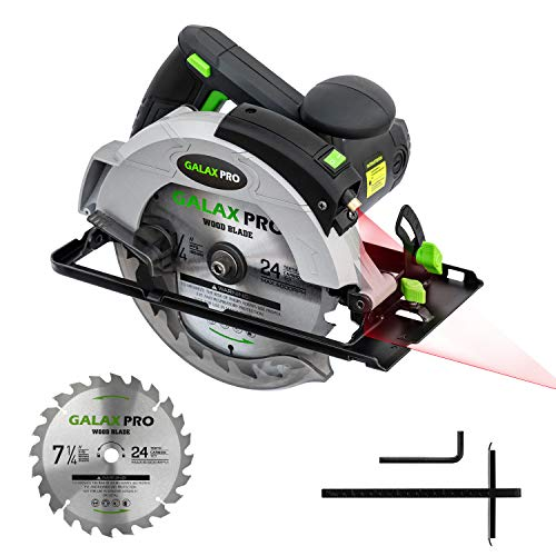 "GALAX PRO 12A 5500RPM Corded Circular Saw with 7-1/4"" Circular Saw Blade and Laser Guide Max Cutting Depth 2.45"" (90°), 1.81"" (45°) for Wood and Log Cutting"