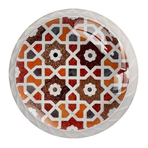 Bellissimi pomelli rotondi etnici per armadietti da cucina, motivo floreale, 4 pezzi
