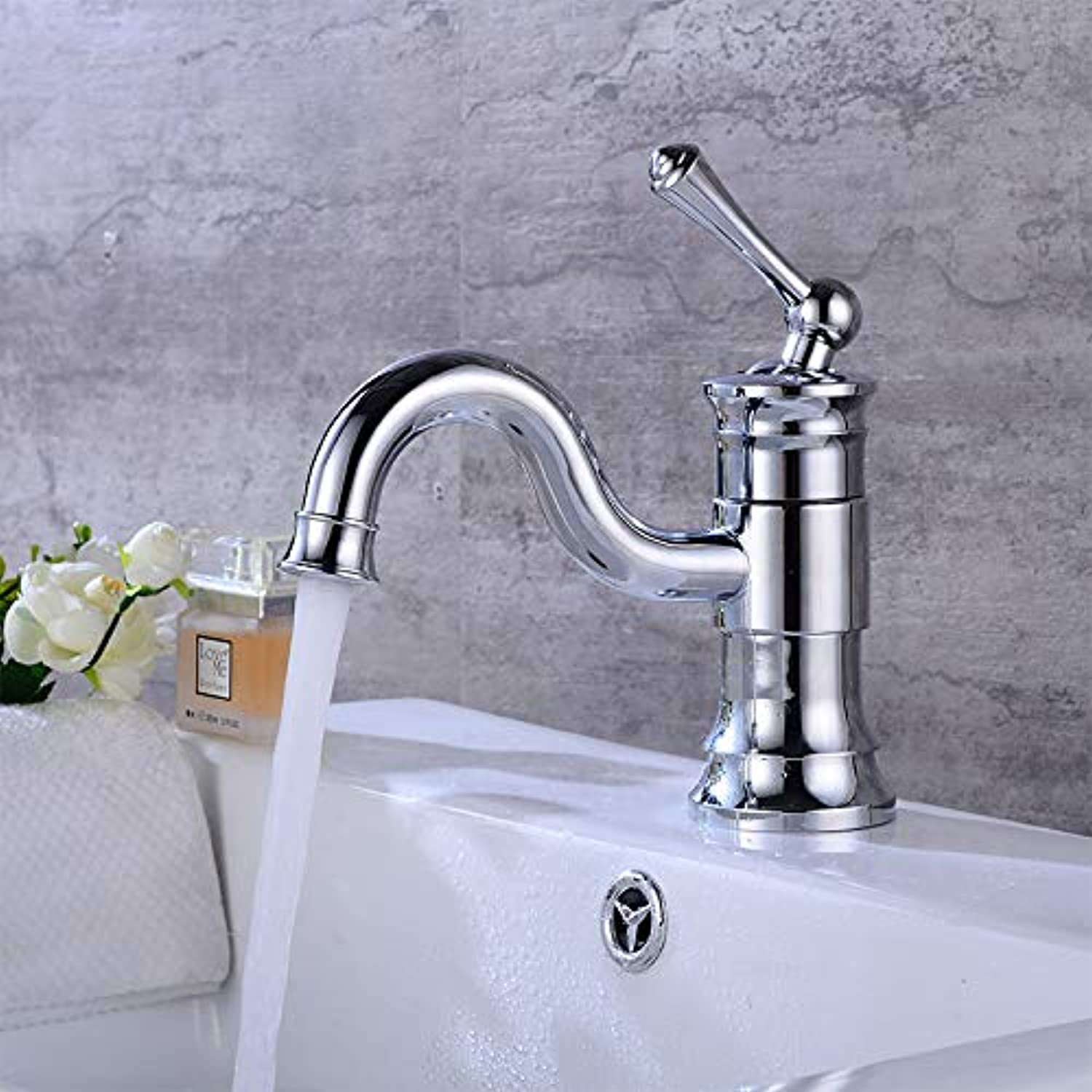 Faucet Taps Above Counter Basin Hot And Cold Water Faucet Household Washbasin Basin Single Handle Single Hole Copper Universal redary Faucet, Basin Dwarf