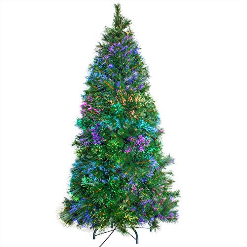 Signstek 6FT Artificial Christmas Tree Pine Needle Fiber Optical Tree with 63 Colorful LED Lights and 540 PVC Tips,23 Flash Modes and Metal Stand