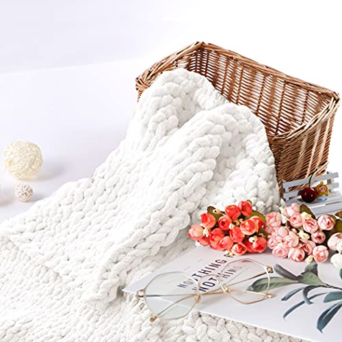 """Abound Chunky Knit Throw Blanket - 50""""x60"""" - Beautiful Home Decor - Soft Chenille Yarn - Couch, Bed, Pet Mat, Baby Blanket, Gift - Machine Washable [Navy/Purple Grey/Slate Grey/Beige/White/Yellow]"""