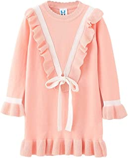 Fairy-Baby Little Kids Girls Ruffled Knit Dress V-Neck with Tie Design Cotton Solid Color Girls Autumn Skirt Long Sleeve Kids Cute Princess Dress (Color : Pink, Size : 150cm)