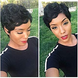 HOTKIS Wavy Pixie Cut Wig for Women Short Human Hair Wigs with Bangs Natural Looking Balck Wig