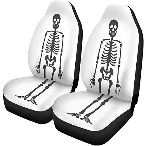 Night-Shop Autositzbezüge Brust Skelett Menschliche Anatomie Halloween Schwarz Weiß Einfach Zeichnung 2er-Set Autozubehör Protektoren Auto Dekor Universal Fit für PKW SUV