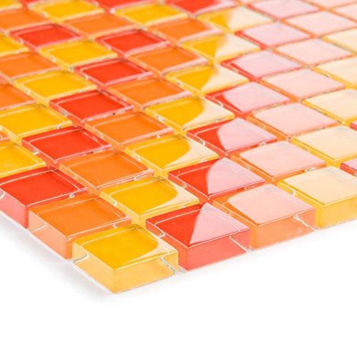 Glasmozaïek tegels rood oranje geel wand vloer douche wc keuken | 1 mat | Type: es-29259_b