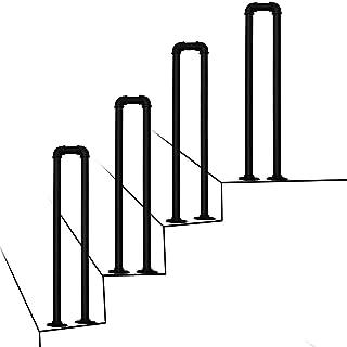 SACKDERTY Poręcz na schody zewnętrzne, schody w kształcie litery U Poręcz antypoślizgowe poręcze matowe czarne Nadaje się ...