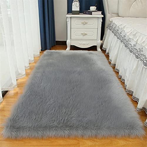 Pelo Largo Lavables Couleur Unie Alfombra Salon Grandes Shaggy Antideslizante Super Suave Pelo Largo Fluffy Alfombra para la Decoración de Salas de Estar y Dormitorios Gris Oscuro 50x50cm