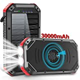 Solar Charger Power Bank, 【True 30000mAh】 18W Fast Charging, 6 Outputs USB C Wireless Charging, QC 3.0 Portable Charger with Flashlight, Waterproof IPX6 for Outdoor, Compatible with Smartphones